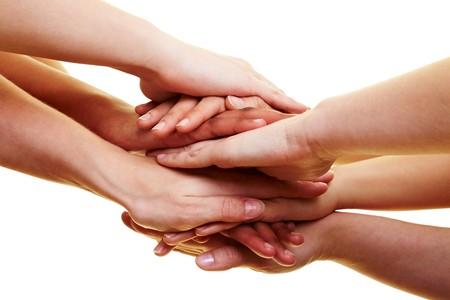 segítség: Sok kéz feküdt egymás tetejére Stock fotó