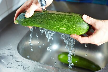 Hands cleaning a courgette under running water Stock Photo - 7296226