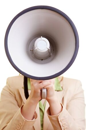 speaking tube: Businesswoman screaming loudly in a big megaphone