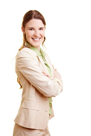 Smiling young businesswoman looking into the camera Stock Photo - 7359459