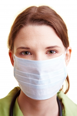 head protection: Female doctor with a breathing mask over the mouth
