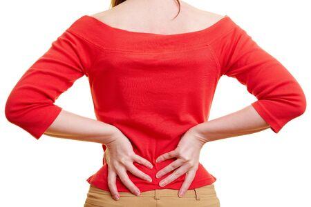 pangs: Woman holding a lei le mani sulla schiena doloranti