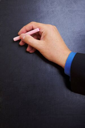 Hand writing with chalk on a blackboard Stock Photo - 7501508