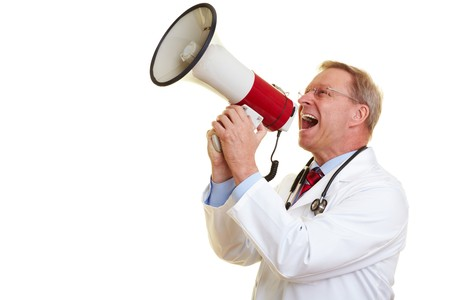 loudly: Senior physician screaming loudly in a big megaphone