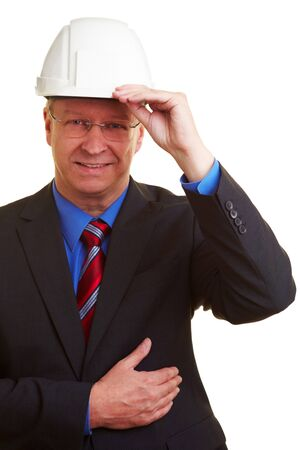 cutout old people: Archtect in a suit with a white helmet Stock Photo