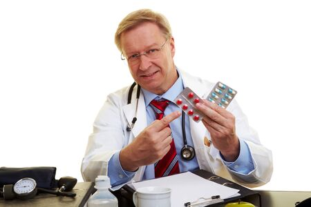 adverse reaction: Doctor pointing to medicine against high blood pressure