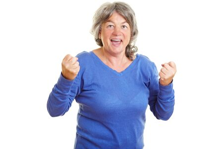 Happy female senior citizen clenching her fists Stock Photo - 7751921