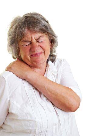 pangs: Anziana donna con i capelli grigi azienda indietro il suo doloroso