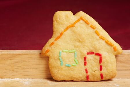 Colorful cookie house with colorful crumble as outlines photo
