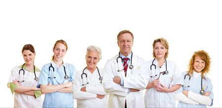 dottore stetoscopio: Felice gruppo di medici e altre persone di cure mediche