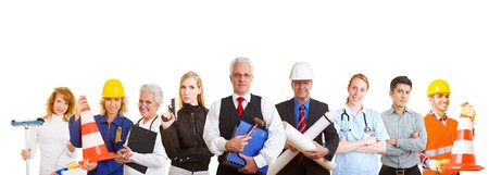 Group of nine happy business people with different occupations photo