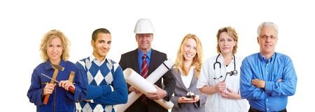 Group of happy business people with different occupations photo