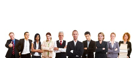 cutout old people: A big business people team in a row Stock Photo