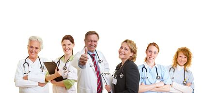 Happy doctor and his smiling medical staff photo