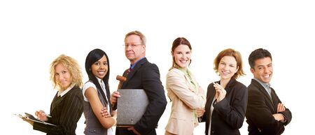 advocate: Happy group of different male and female lawyers Stock Photo