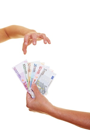 woman handle success: Greedy hand reaching for many Euro banknotes