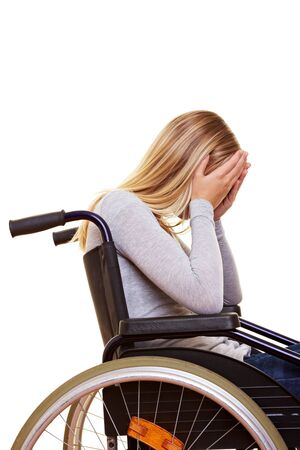 shame: Young sad disabled woman in wheelchair crying