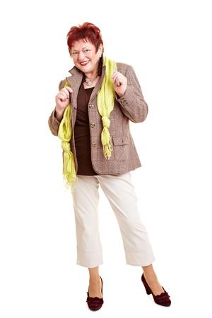 Elderly plus size fashion model showing business clothing Stock Photo - 8621351