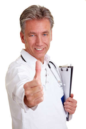 Successful senior physician holding his thumb up Stock Photo - 8903644