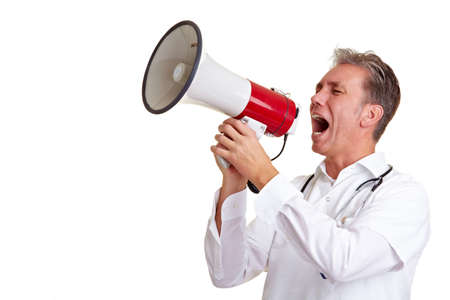 speaking tube: Senior doctor shouting into a big megaphone Stock Photo