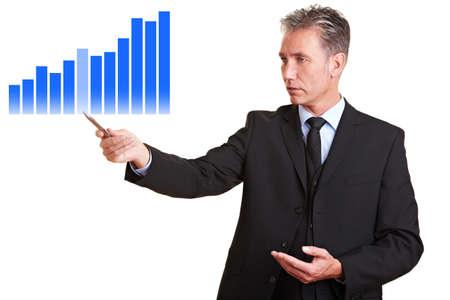 Senior business man pointing to financial statistics photo
