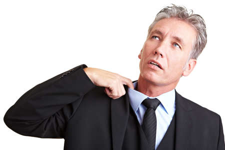 strenuous: Sweating manager pulling his shirt with his finger Stock Photo