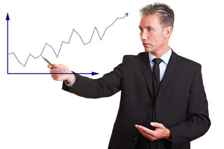 Senior business man explaining financial trend with a chart photo
