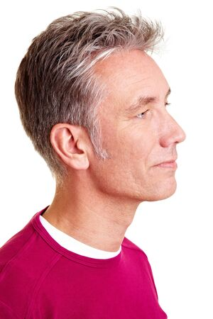 Male Profile: Happy senior man looking to the right side