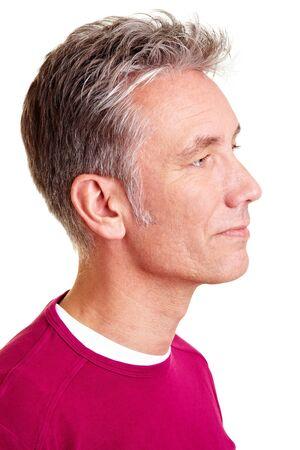 belleza masculina: Hombre alto feliz mirando a la derecha Foto de archivo