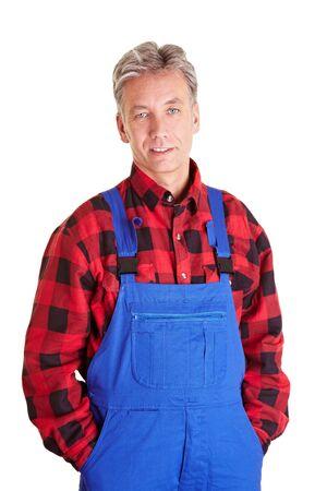 overol: Retrato de un trabajador de alto contenido en ropa de trabajo