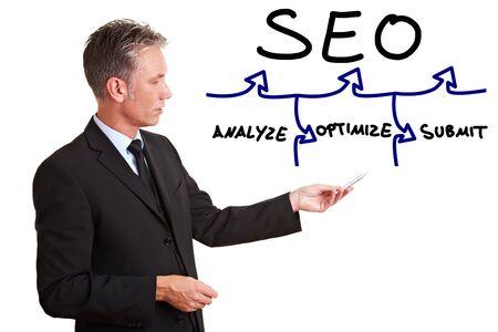 classement: Consultant senior expliquant SEO avec un graphique simple Banque d'images