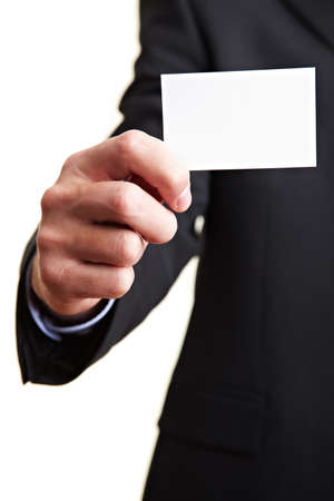 business card hand: Hand holding an empty white business card Stock Photo