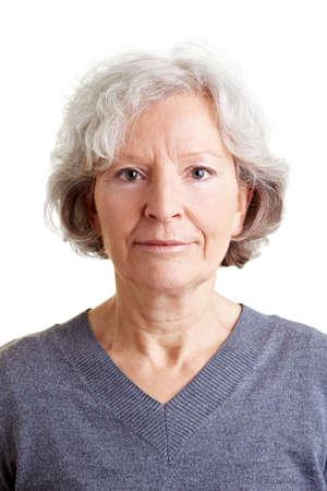 Headshot of an beautiful old smiling woman photo