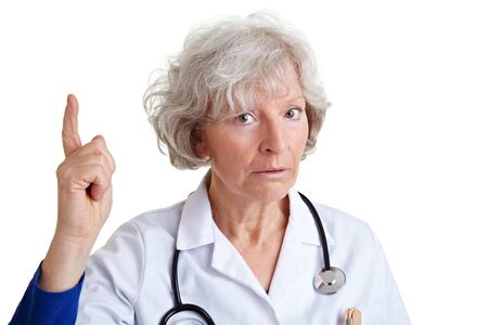 admonish: Female elderly doctor scolding with her index finger