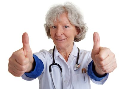 Happy female physician holding both thumbs up Stock Photo - 9108797