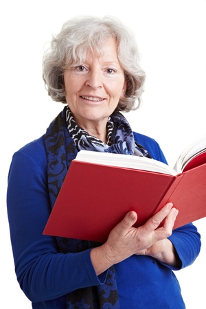 literatures: Elderly female teacher reading a red book aloud