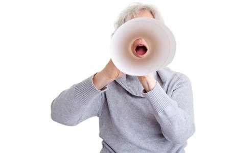 speaking tube: Elderly woman screaming in a simple speaking tube
