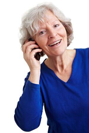 Smiling senior woman talking with mobile phone Stock Photo - 9108901