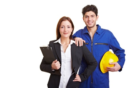 Portrait of a business woman and happy manual worker Stock Photo - 9323001