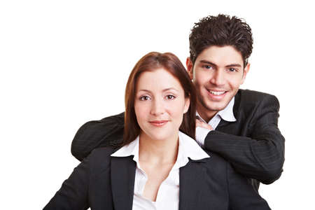 Business man leaning on the shoulders of a female colleague Stock Photo - 9323010