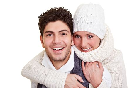 attractive couple: Young happy attractive couple in winter clothing