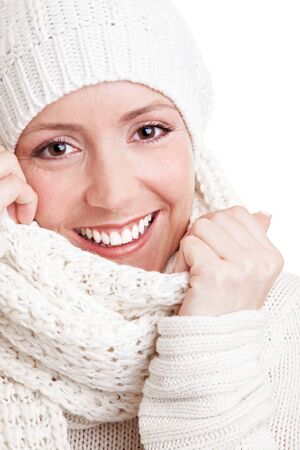 veiled: Portrait of an attractive young woman in winter clothing Stock Photo