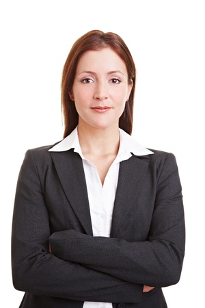 Young woman introducing herself at a job interview photo