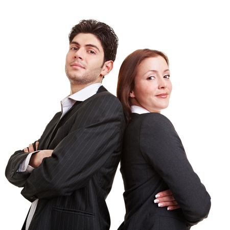 woman back of head: Sucessful business team with arms crossed leaning back to back Stock Photo