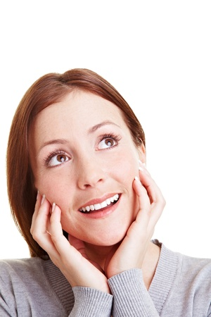 Happy woman with an idea looking up Stock Photo - 9319252