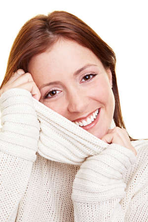 turtleneck: Portrait of an attractive young woman with turtleneck sweater Stock Photo
