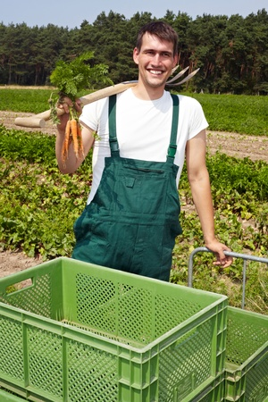 Organic famer with carrots and spade smiling on a field photo