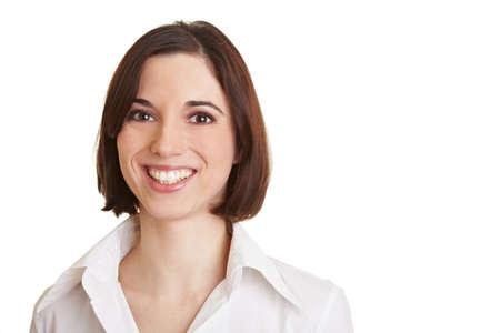 blusa: Vieron de una joven mujer de negocios sonriente Foto de archivo