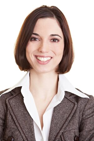 woman serious: Headshot of a young smiling business woman