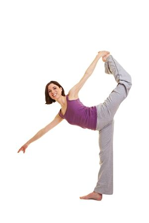 Young flexible female dancer warming up before dancing Stock Photo - 9436795